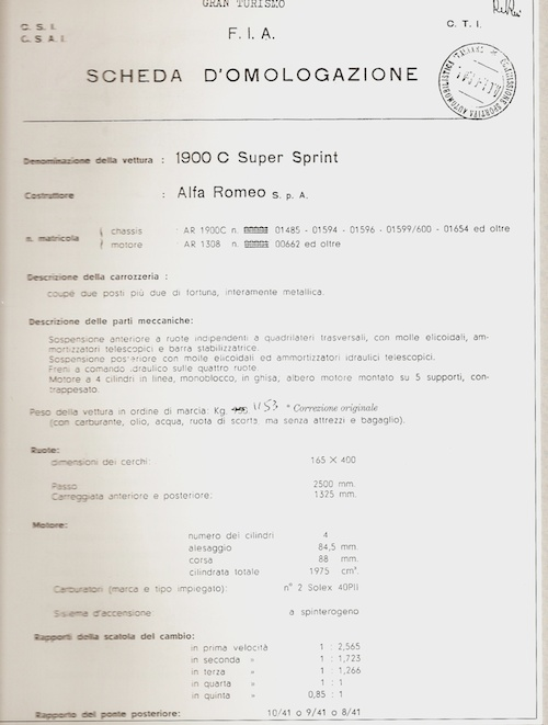 HOMOLOGACION FIA del Alfa Romeo 1900C Super Sprint